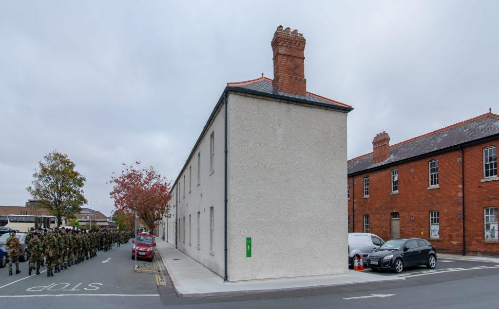 Side view of house, Cathal Brugh Barracks, Dublin. 2020.